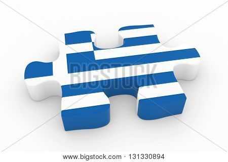 Greek Flag Puzzle Piece - Flag Of Greece Jigsaw Piece 3D Illustration
