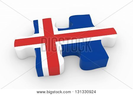 Icelandic Flag Puzzle Piece - Flag Of Iceland Jigsaw Piece 3D Illustration