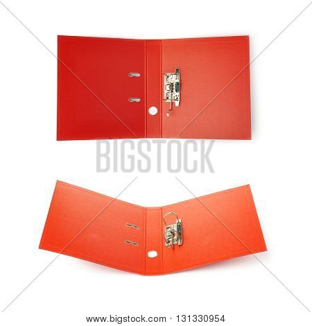Set of Red Office folder isolated over the white background