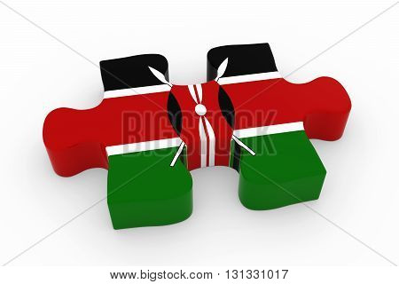 Kenyan Flag Puzzle Piece - Flag Of Kenya Jigsaw Piece 3D Illustration