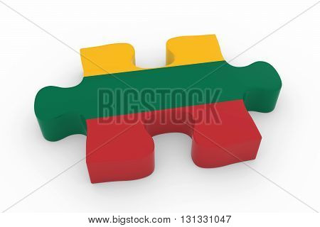 Lithuanian Flag Puzzle Piece - Flag Of Lithuania Jigsaw Piece 3D Illustration