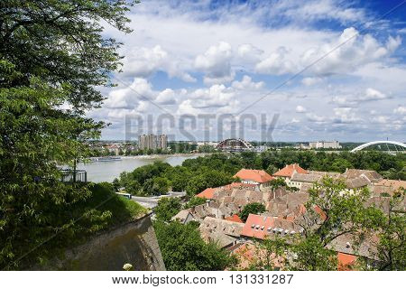 Cityscape of Novi Sad, view from the Petrovaradin fortress