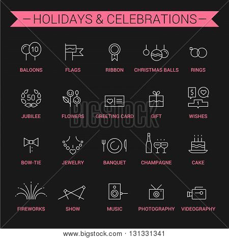 Icons of holidays and celebrations in linear style. White and pink.