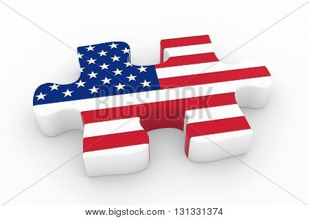 American Flag Puzzle Piece - Flag Of The Usa Jigsaw Piece 3D Illustration