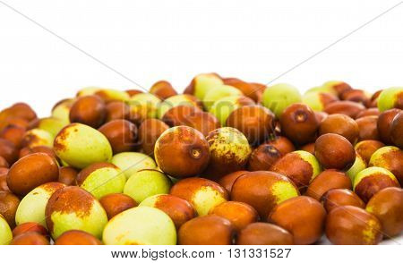 farming chinese jujubes isolated on white background