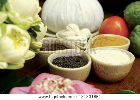 spa ingredients for spa massage and aromatherapy with selective focus