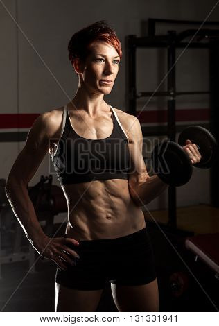 Young Fit Caucasian Female Bodybuilder
