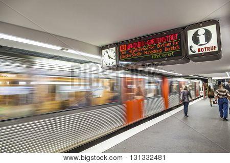 People At The Subway Station In Hamburg