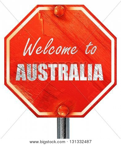 Welcome to australia, 3D rendering, a red stop sign