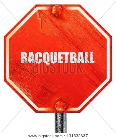 raquetball, 3D rendering, a red stop sign