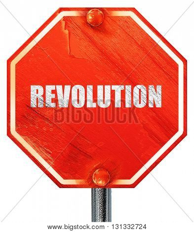 revolution, 3D rendering, a red stop sign