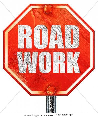 road work, 3D rendering, a red stop sign