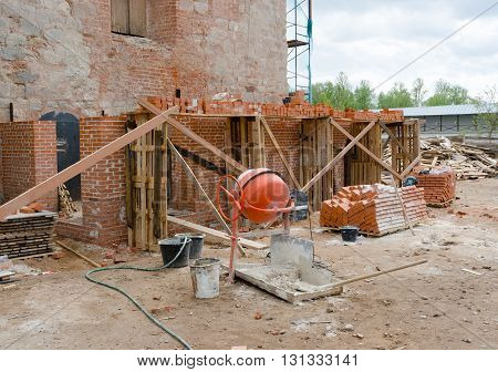 Concrete mixer container on local construction site