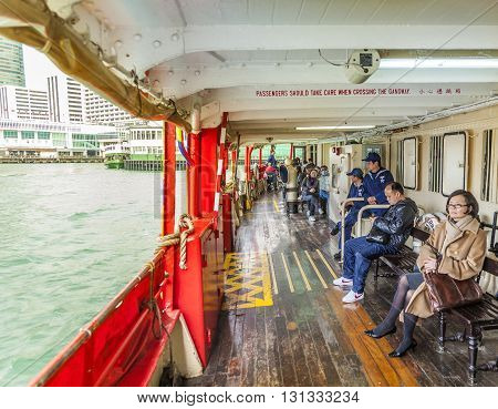 Passenger On Upper Deck Of A Star Ferry
