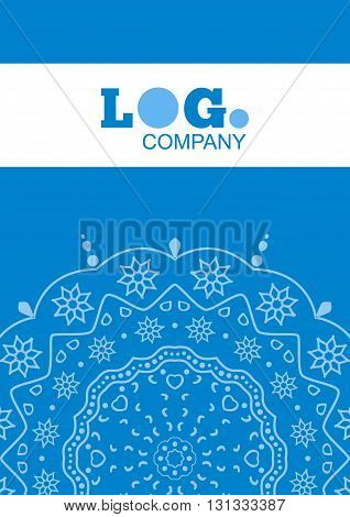 Cover template with floral background. Blue design background for business. annual report book cover, brochure, flyer, poster
