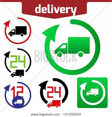 Icons set of Fast delivery. The business. icon and arrow isolated on white background.