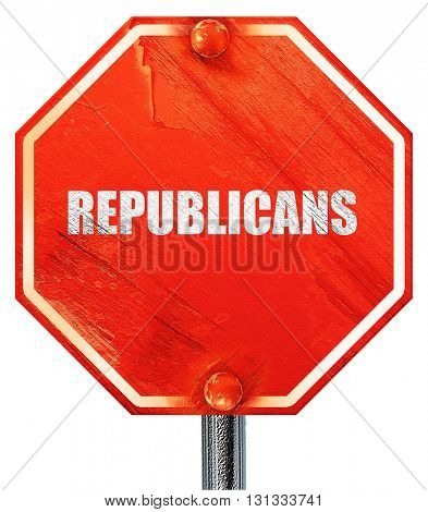 republicans, 3D rendering, a red stop sign