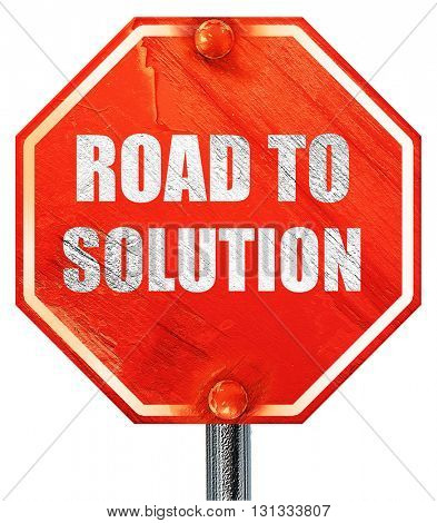 road to solution, 3D rendering, a red stop sign