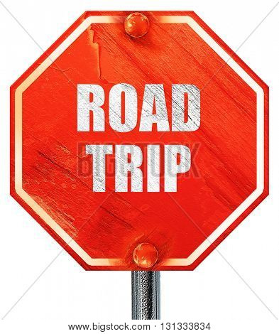 roadtrip, 3D rendering, a red stop sign