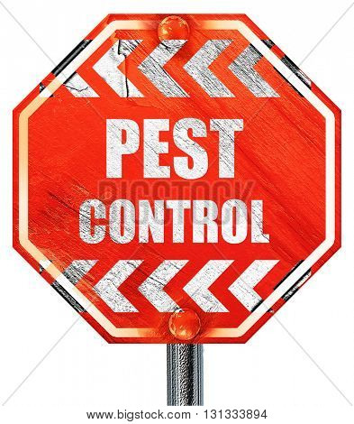 Pest control background, 3D rendering, a red stop sign