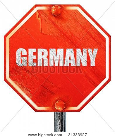 Greetings from germany, 3D rendering, a red stop sign