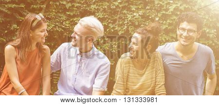 Hipster Friends Talking Happiness Relax Concept