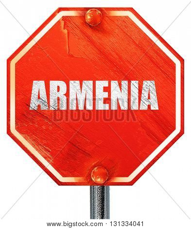 Greetings from armenia, 3D rendering, a red stop sign