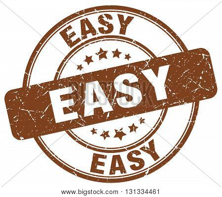 easy brown grunge round vintage rubber stamp.easy stamp.easy round stamp.easy grunge stamp.easy.easy vintage stamp.