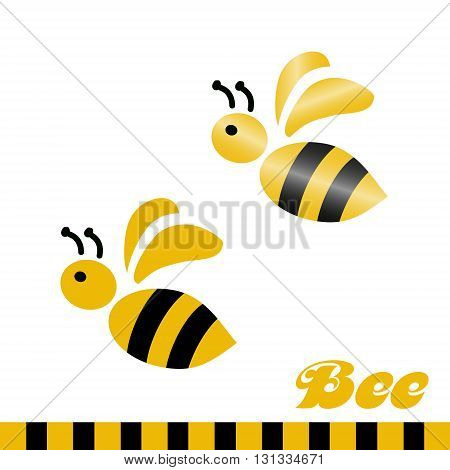 Merry bee. Logo. Vector logotype design isolated on white background.