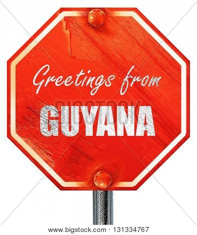 Greetings from guyana, 3D rendering, a red stop sign