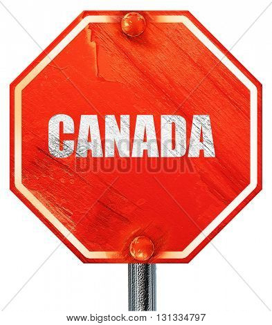 Greetings from canada, 3D rendering, a red stop sign