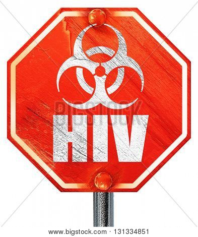 Aids virus concept background, 3D rendering, a red stop sign