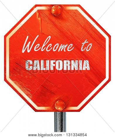 Welcome to california, 3D rendering, a red stop sign