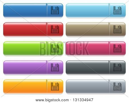 Set of save glossy color menu buttons with engraved icons
