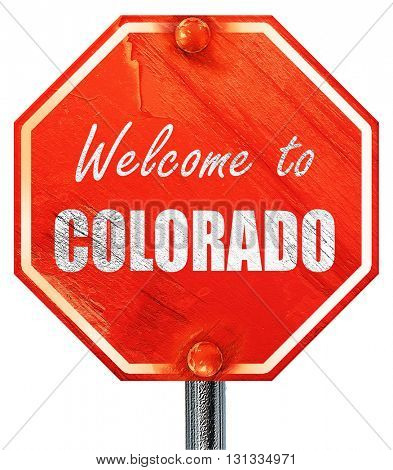 Welcome to colaroda, 3D rendering, a red stop sign