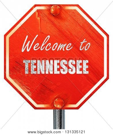 Welcome to tennessee, 3D rendering, a red stop sign