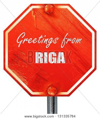 Greetings from riga, 3D rendering, a red stop sign