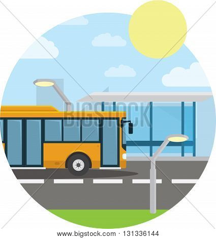 Flat style concept of public transport. City bus with front, bus stop. Isolated vector illustration