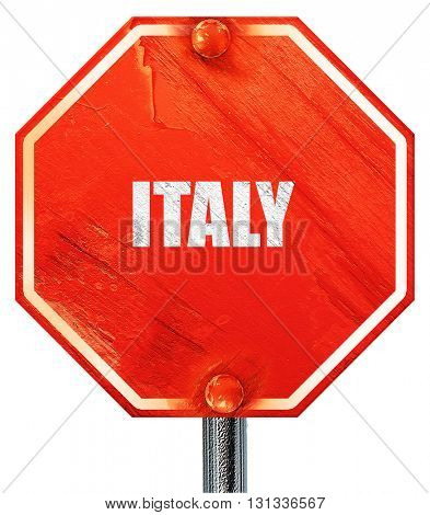 Greetings from italy, 3D rendering, a red stop sign