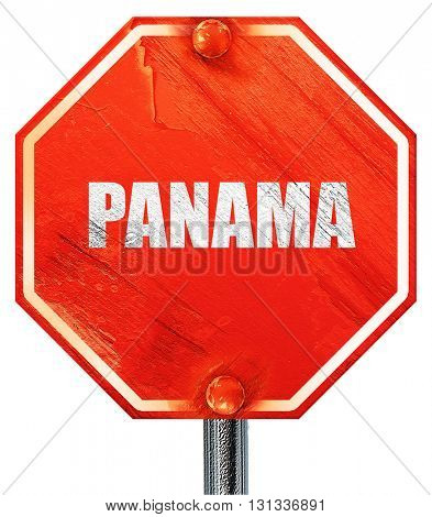 Greetings from panama, 3D rendering, a red stop sign