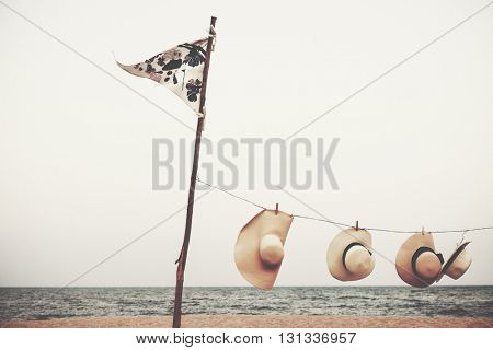 Hat Hanging on the Beach Peaceful Concept
