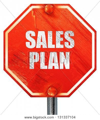 sales plan, 3D rendering, a red stop sign