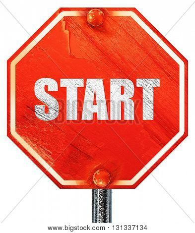 start, 3D rendering, a red stop sign