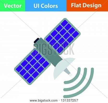 Satellite icon. Flat design ui colors.. Vector illustration.