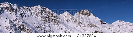Panorama view on mountain range os Stubai Alpen in Austria