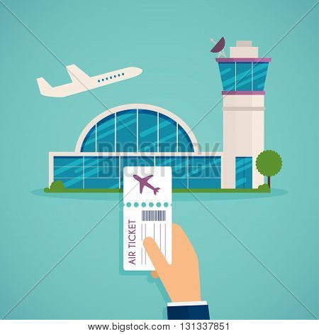 Hand Holding Boarding Pass At Airport. Traveling On Airplane, Planning A Summer Vacation, Tourism An