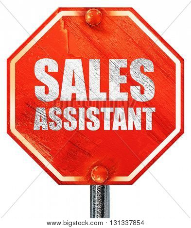 sales assistant, 3D rendering, a red stop sign