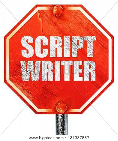 script writer, 3D rendering, a red stop sign