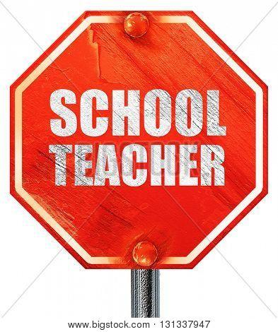 school teacher, 3D rendering, a red stop sign