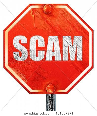 scam, 3D rendering, a red stop sign